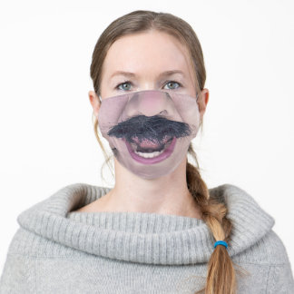 Mouth Wide Open Mustache Funny Adult Cloth Face Mask