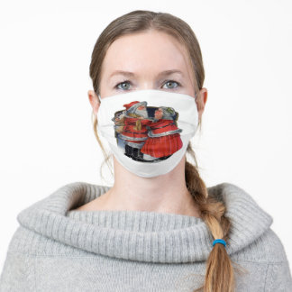 Mr and Mrs Claus Goodbye Kiss Adult Cloth Face Mask