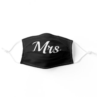Mrs. Wedding Party Black and White Adult Cloth Face Mask