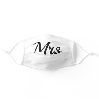 Mrs. Wedding Party Black and White Cloth Face Mask