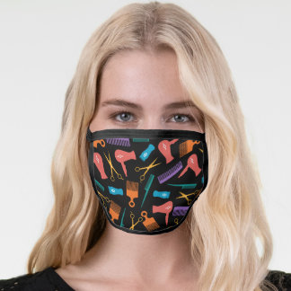 Multi Colored Hair Tool Silhouette Pattern Face Mask