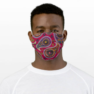 Multi-Colored Paisley Pattern Red Background Adult Cloth Face Mask
