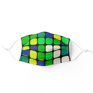 Multicolor Bright Blue Green Plaid Huge Squares Adult Cloth Face Mask