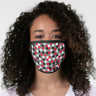 Multicolor Checkered Pixels with Name Template Face Mask