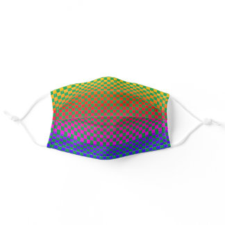 Multicolor Geometric Checkerboard Patterns Green Adult Cloth Face Mask
