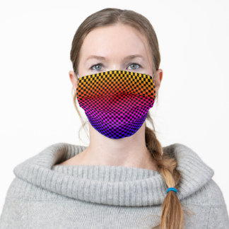 Multicolor Geometric Checkerboard Patterns Ombre Adult Cloth Face Mask