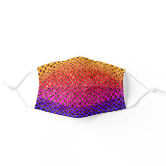 Multicolor Gold Checkerboard Patterns Glitter Cool Adult Cloth Face Mask
