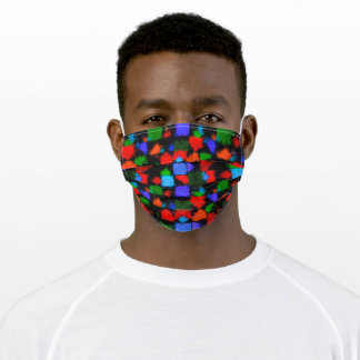 Multicolored Orange Blue Abstract Pattern Adult Cloth Face Mask