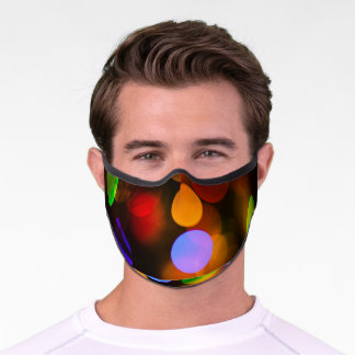Multicoloured Christmas Lights. Premium Face Mask