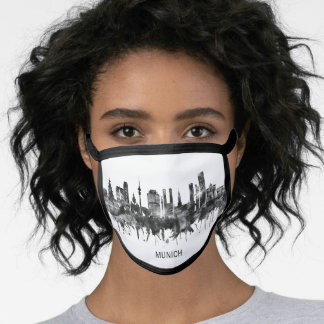 Munich Germany Skyline BW Face Mask