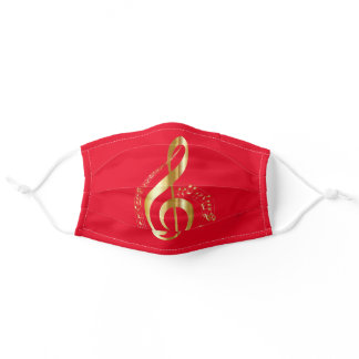Music Notes Gold Golden Red Custom Color Cool Adult Cloth Face Mask