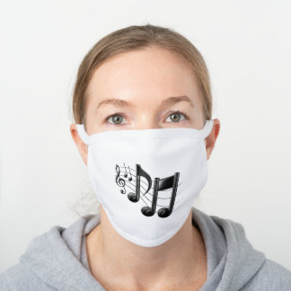Music Notes, Music Themed Gifts White Cotton Face Mask