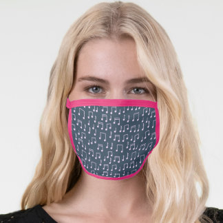 Music Teacher | Music Notes in Pink and Slate Blue Face Mask