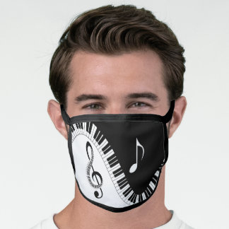 Musical Keyboard Treble Clef Music Note Face Mask