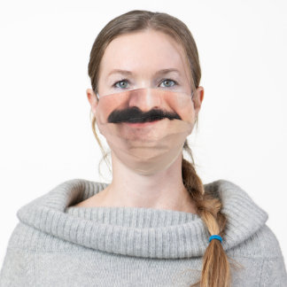 Mustache Hipster Face Mouth Beard Man Laughing Adult Cloth Face Mask