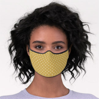 Mustard and White Tiny Dots Pattern Premium Face Mask
