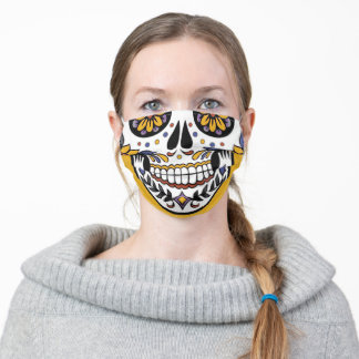 Mustard yellow Sugar Skull Adult Cloth Face Mask