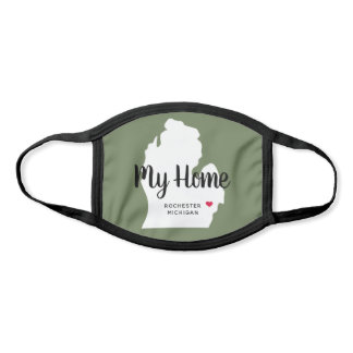 My Home | Olive Green State of Michigan Face Mask