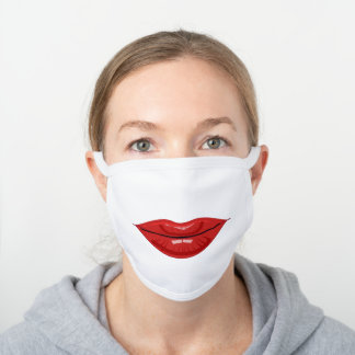 Mystic Lipstick | Slapstick | Firebrick Red White Cotton Face Mask