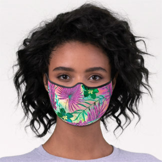 Nalani Hawaiian Tropical Garden Fuchsia Premium Face Mask