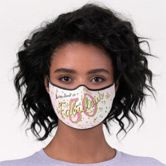 Name - 50 and Fabulous Gold /Pink Birthday Premium Face Mask