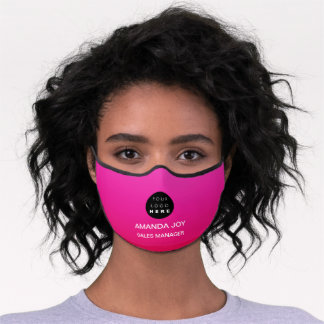 Name Business Logo Monogram Pink Ombre Modern Premium Face Mask