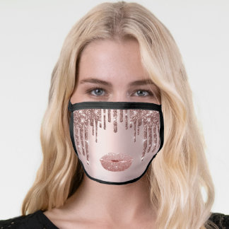 Name Kiss Lips Pink Drips Makeup Cotton Covid Face Mask