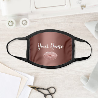 Name Kiss Lips Rose Brown Makeup Cotton Covid Face Mask
