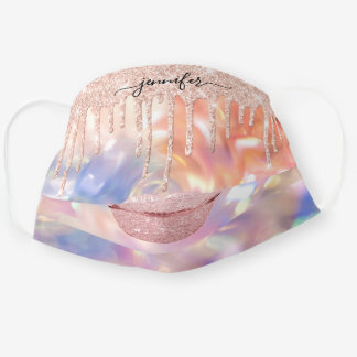 Name Lips Rose Blush Drips Holographic Pastel Cloth Face Mask