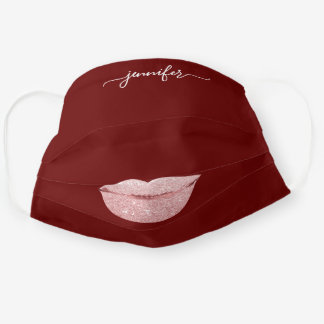 Name Lips Rose Burgundy Blush Girly Makeup Artist Cloth Face Mask