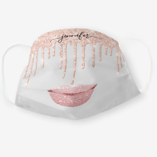 Name  Lips Rose Gray Drips Makeup Artist Cloth Face Mask