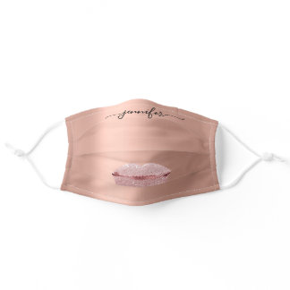 Name Lips Rose Kiss Glam Blush Drips Makeup Artist Adult Cloth Face Mask