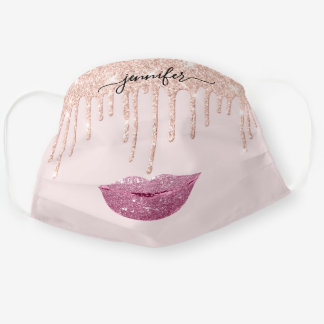 Name  Lips Rose Pink  Blush Drips Makeup Kiss Cloth Face Mask