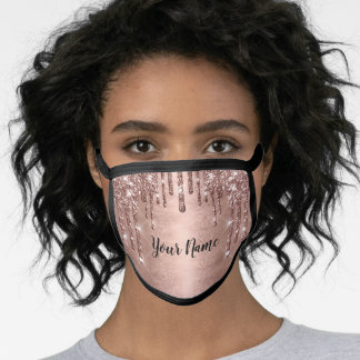 Name Rose Glitter Effect Pink Drips Makeup Face Mask