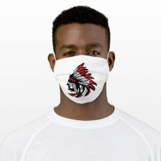 Native american indian red featehr silhoutte adult cloth face mask