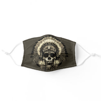 Native American Indian Skull - Golden Chief Adult Cloth Face Mask