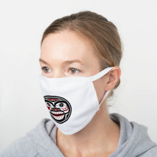 Native American Red Black Graphic Weeping skull White Cotton Face Mask