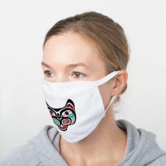 Native American Red Black Vector Graphics Kitty White Cotton Face Mask