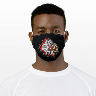 Native indian red featehrs skull silhoutte adult cloth face mask