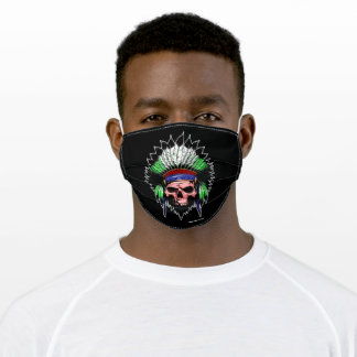 Native indian red green featehrs skull profile adult cloth face mask