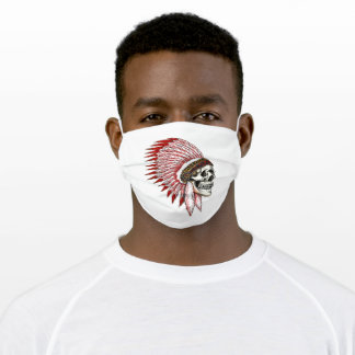 Native indian red skull featehrs silhoutte adult cloth face mask