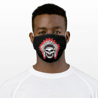 Native red indian featehrs skull silhoutte adult cloth face mask