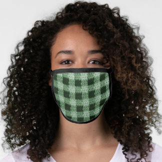 Natural Green Plaid Artisan Crochet All Over Print Face Mask
