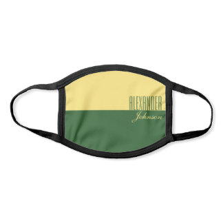 Nature Green and Yellow Modern Name Face Mask