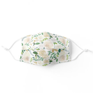Nature Greenery Ivory Gold Floral Elegant White Adult Cloth Face Mask
