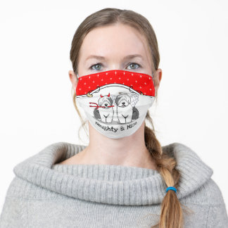 Naughty & Nice Old English Sheepdogs (Gray 1) Adult Cloth Face Mask