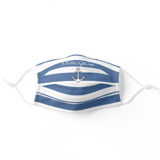 Nautical Anchor Navy Blue Stripes Family Name Outd Adult Cloth Face Mask