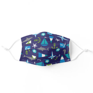 Nautical background patterns adult cloth face mask