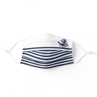 Nautical Navy blue White Stripes and Blue Anchor Adult Cloth Face Mask