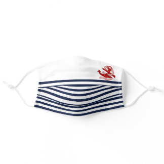 Nautical Navy blue White Stripes and Red Anchor Adult Cloth Face Mask